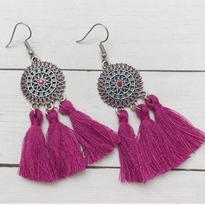 Boho purple tassel earrings NEW